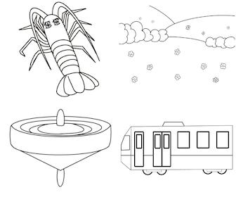 ぬりえ(動物・生き物、景色、おもちゃ・遊び、乗り物)