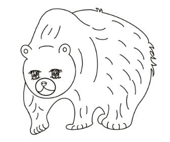 無料ぬりえプリント「熊(くま)」