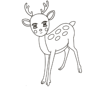 無料ぬりえプリント「鹿(シカ)」