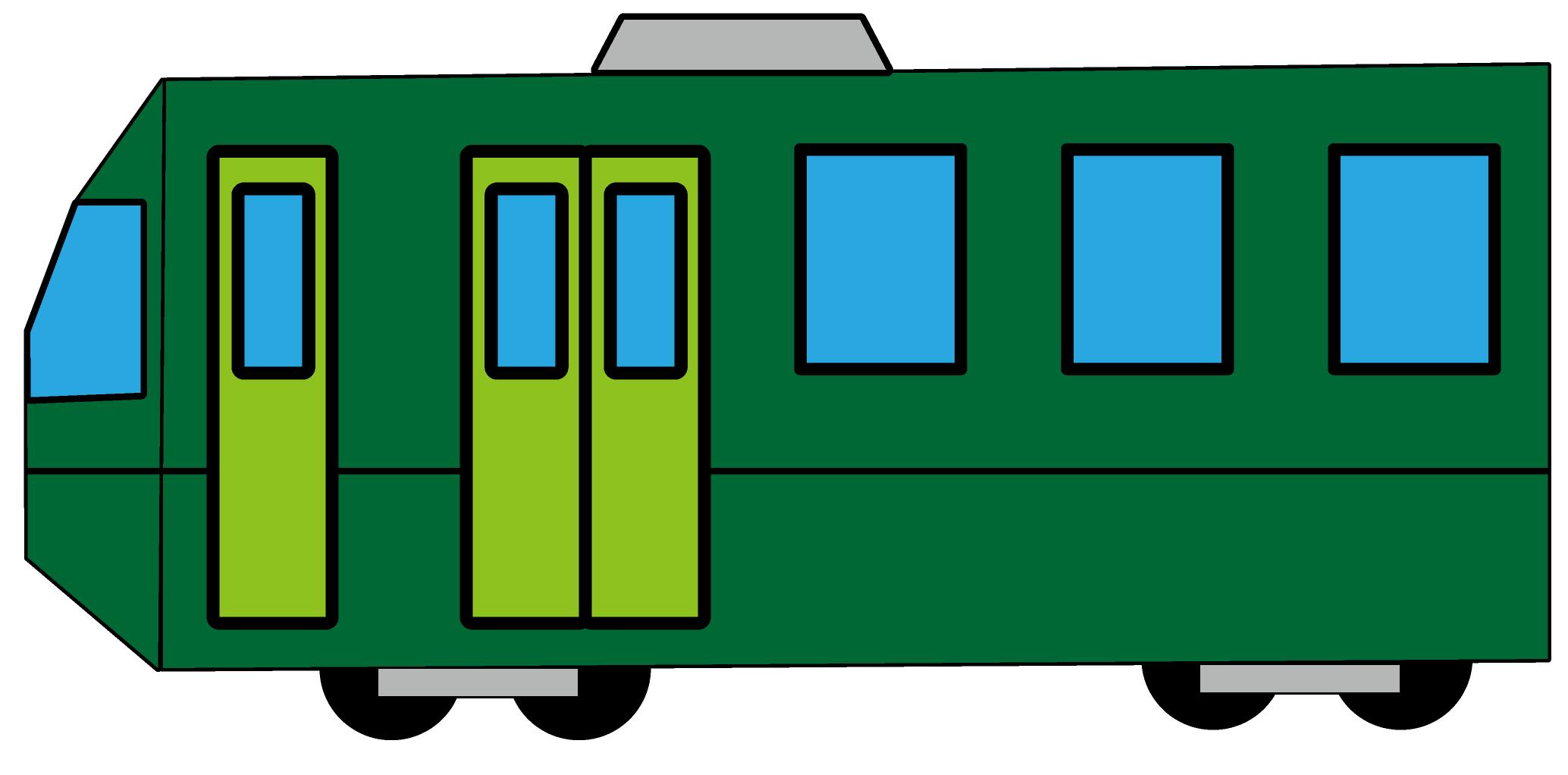 無料ぬりえプリント「電車」(塗り方一例)