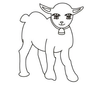 無料ぬりえプリント「ヤギ(山羊)」