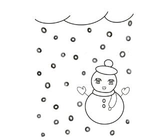 無料ぬりえプリント「雪と雪だるま」