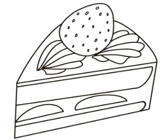 無料ぬりえプリント「ケーキ」