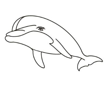 無料ぬりえプリント「イルカ」