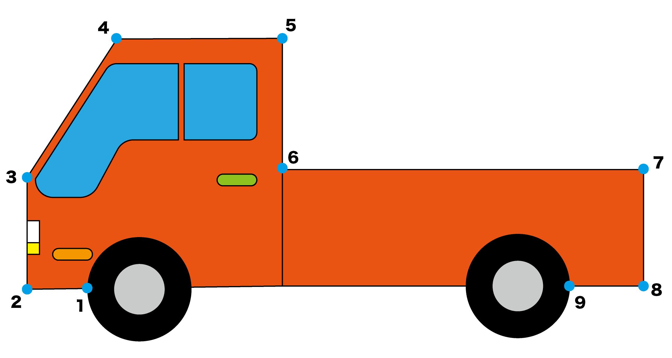 点つなぎ「トラック」完成例