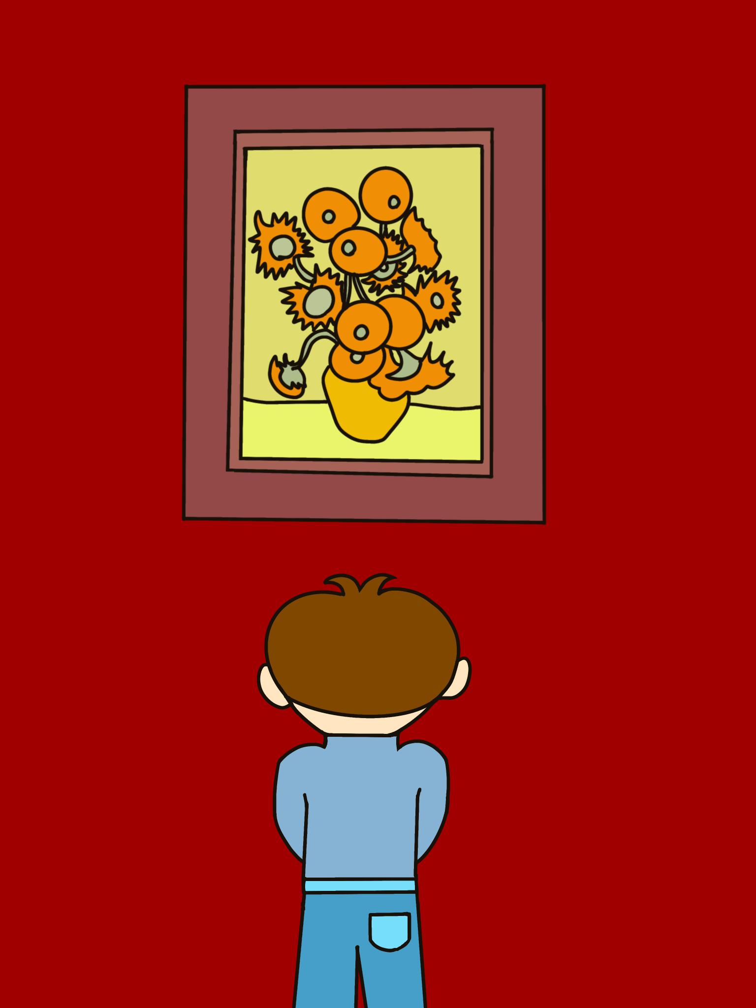 無料ぬりえプリント「絵を見る男の子」(完成一例)