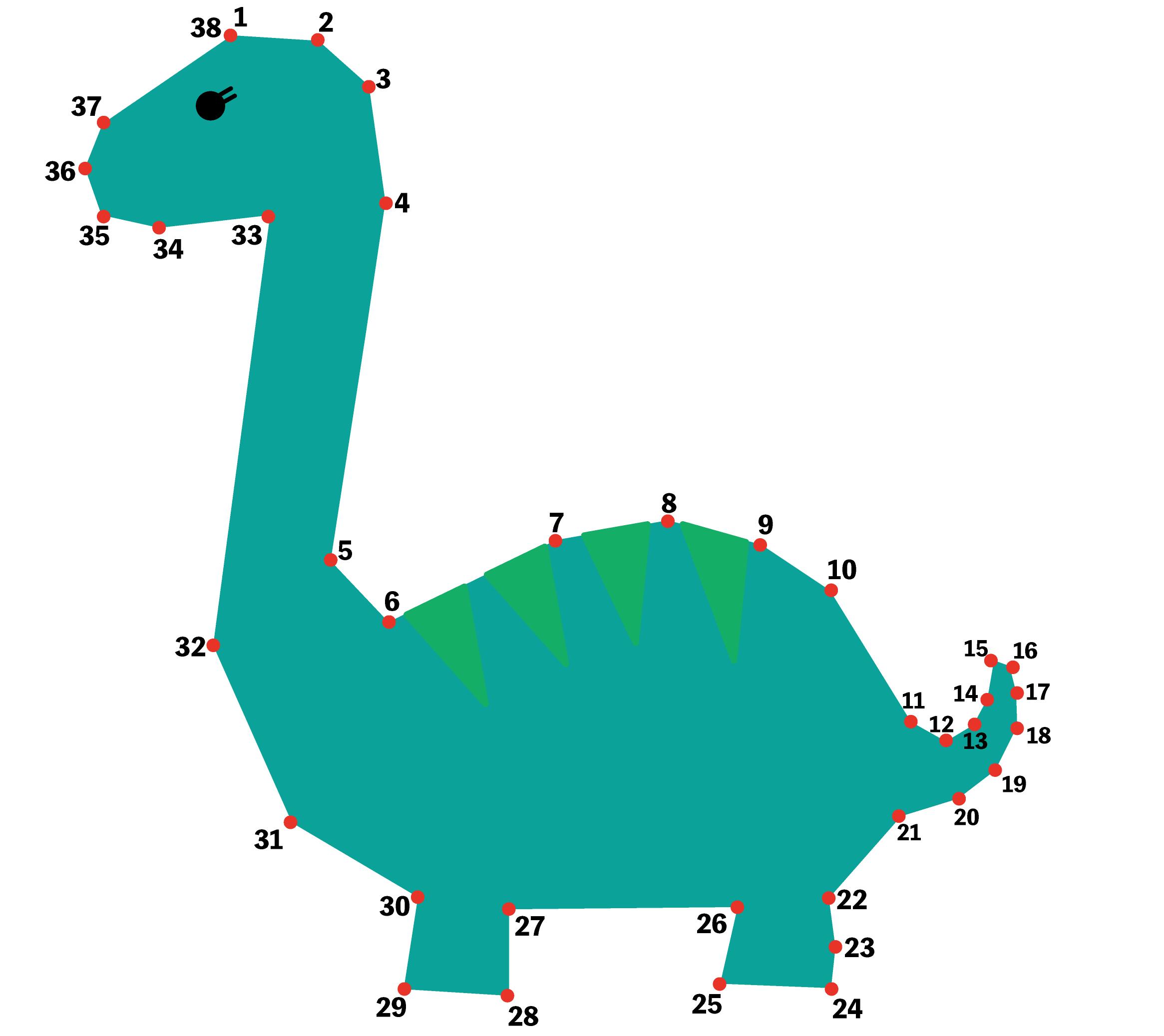 点つなぎ 恐竜(2)ブラキオサウルス(完成一例)