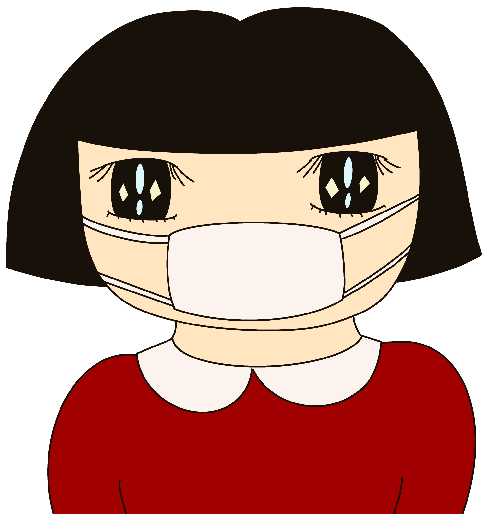 無料ぬりえプリント「マスクをした女の子」(完成一例)