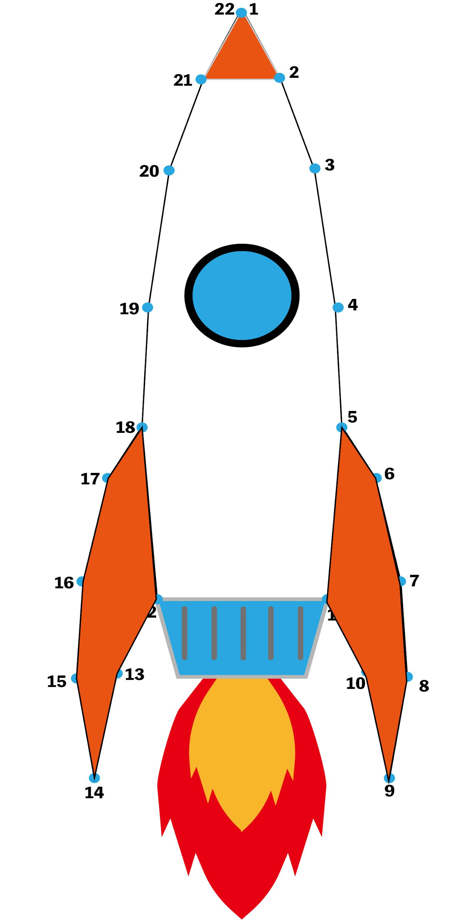 点つなぎ ロケット(完成例)