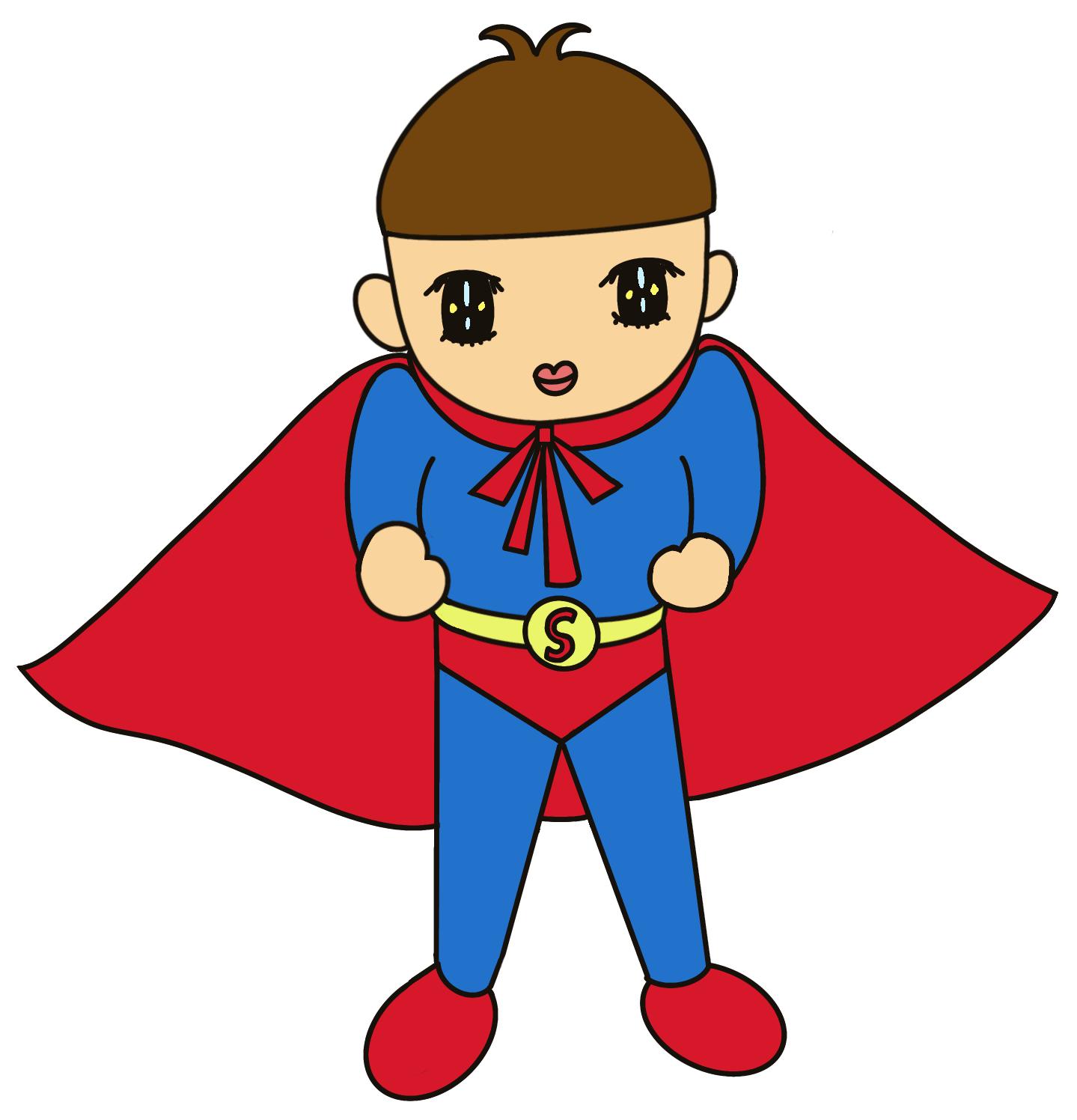 無料ぬりえプリント「スーパーマン(ヒーロー)になりきる男の子」(完成一例)