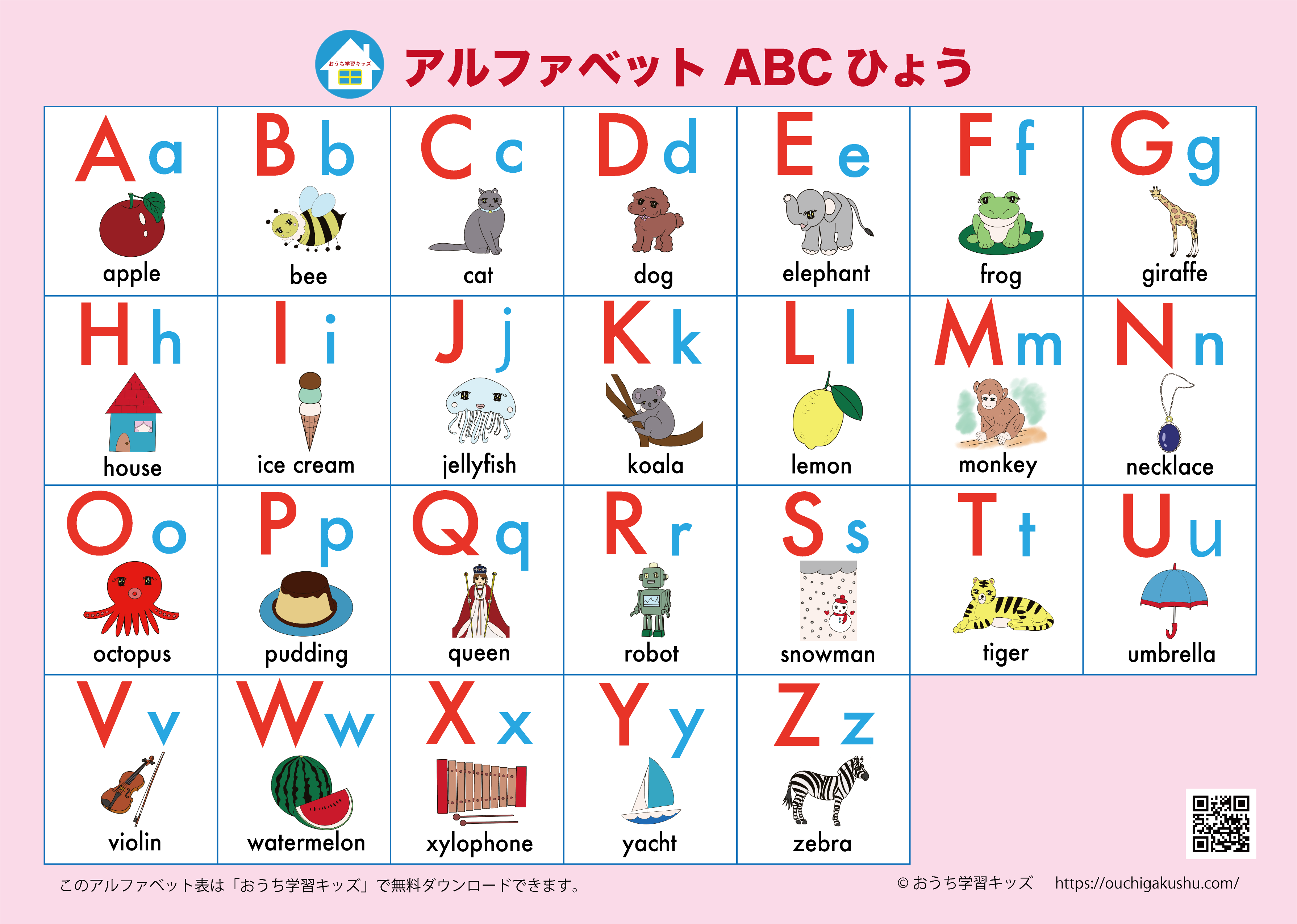 アルファベット表(ABC表)絵付き・ピンク