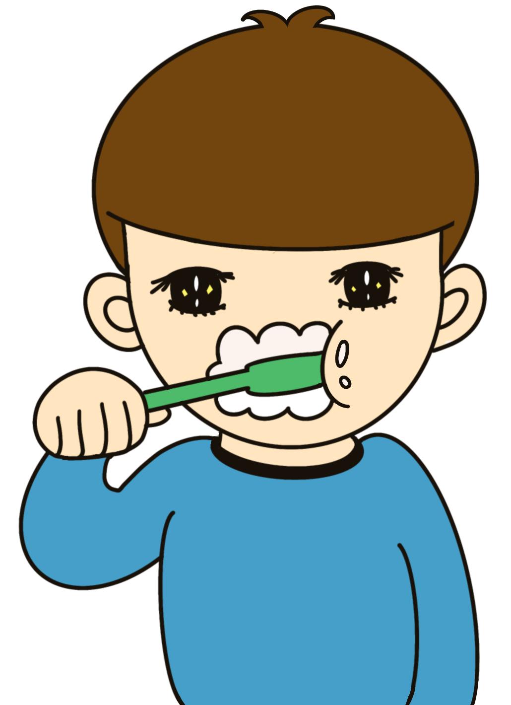 無料ぬりえプリント「歯を磨く男の子」(完成一例)