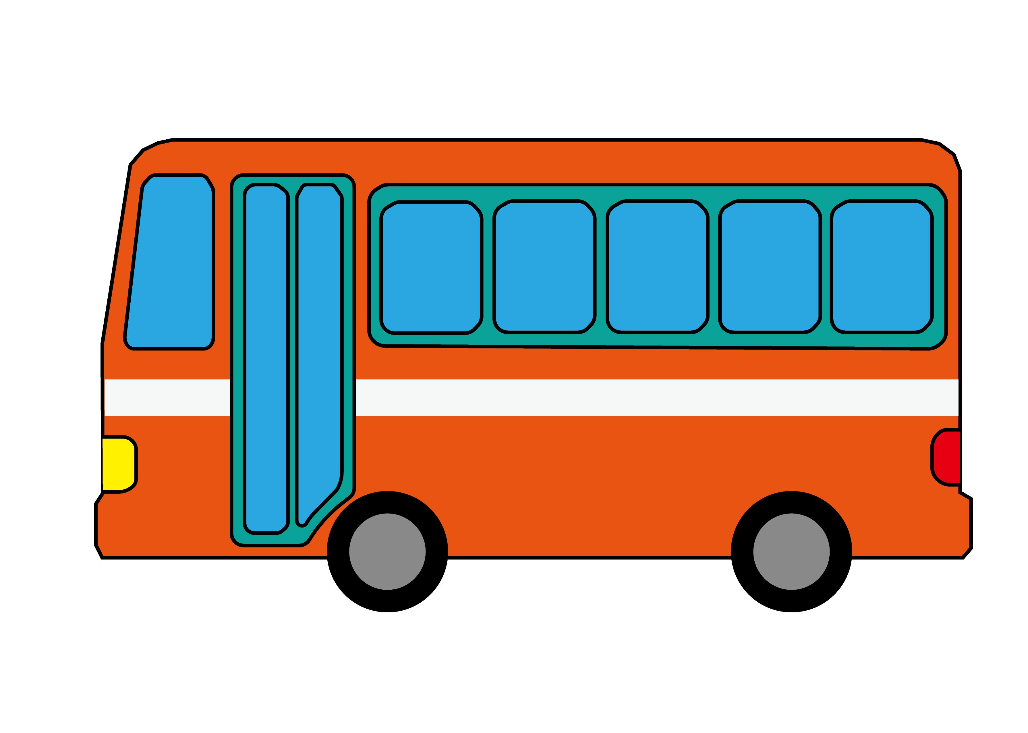 無料ぬりえプリント「バス」(完成一例)