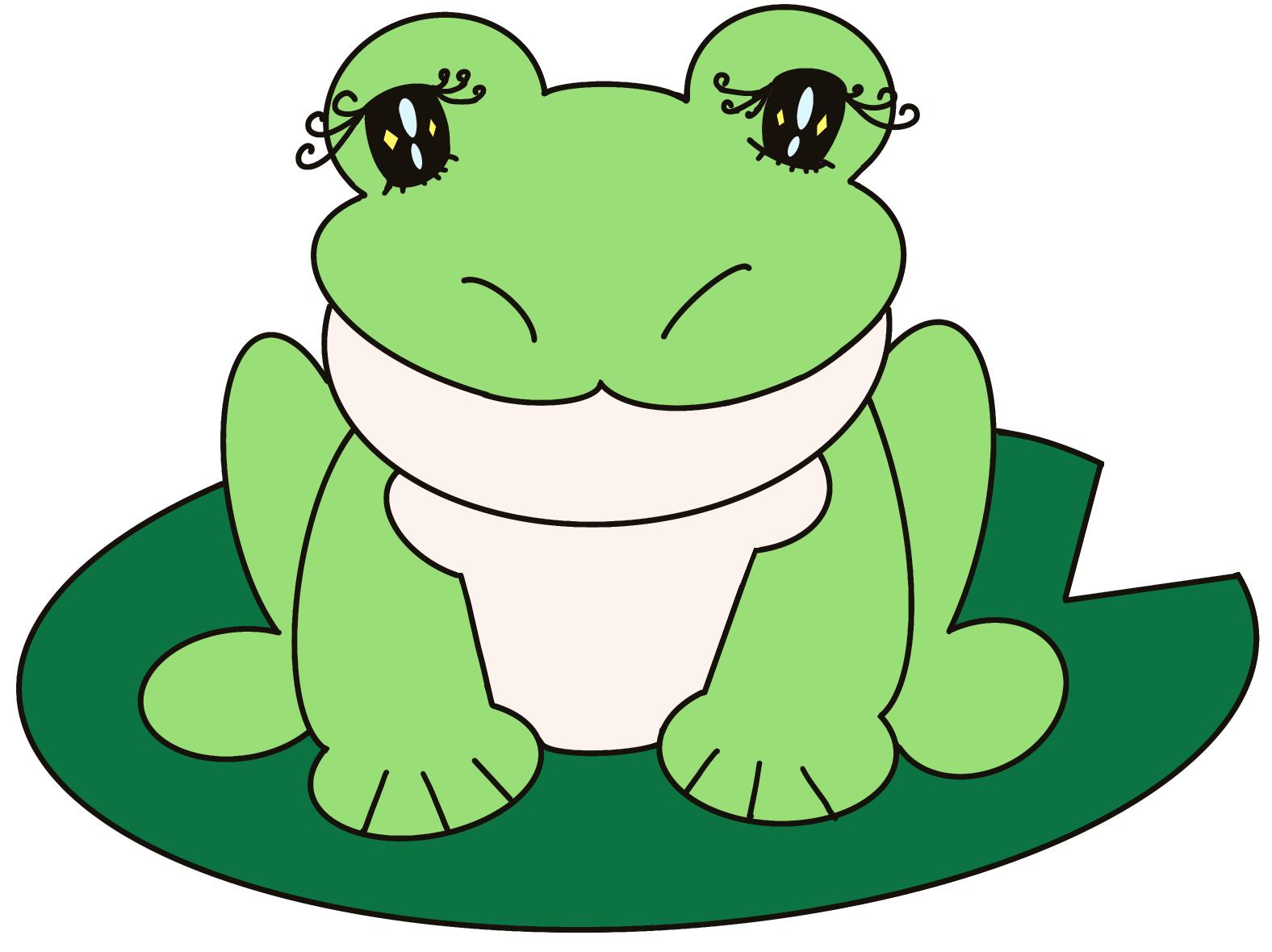 無料ぬりえプリント「カエル」(完成一例)