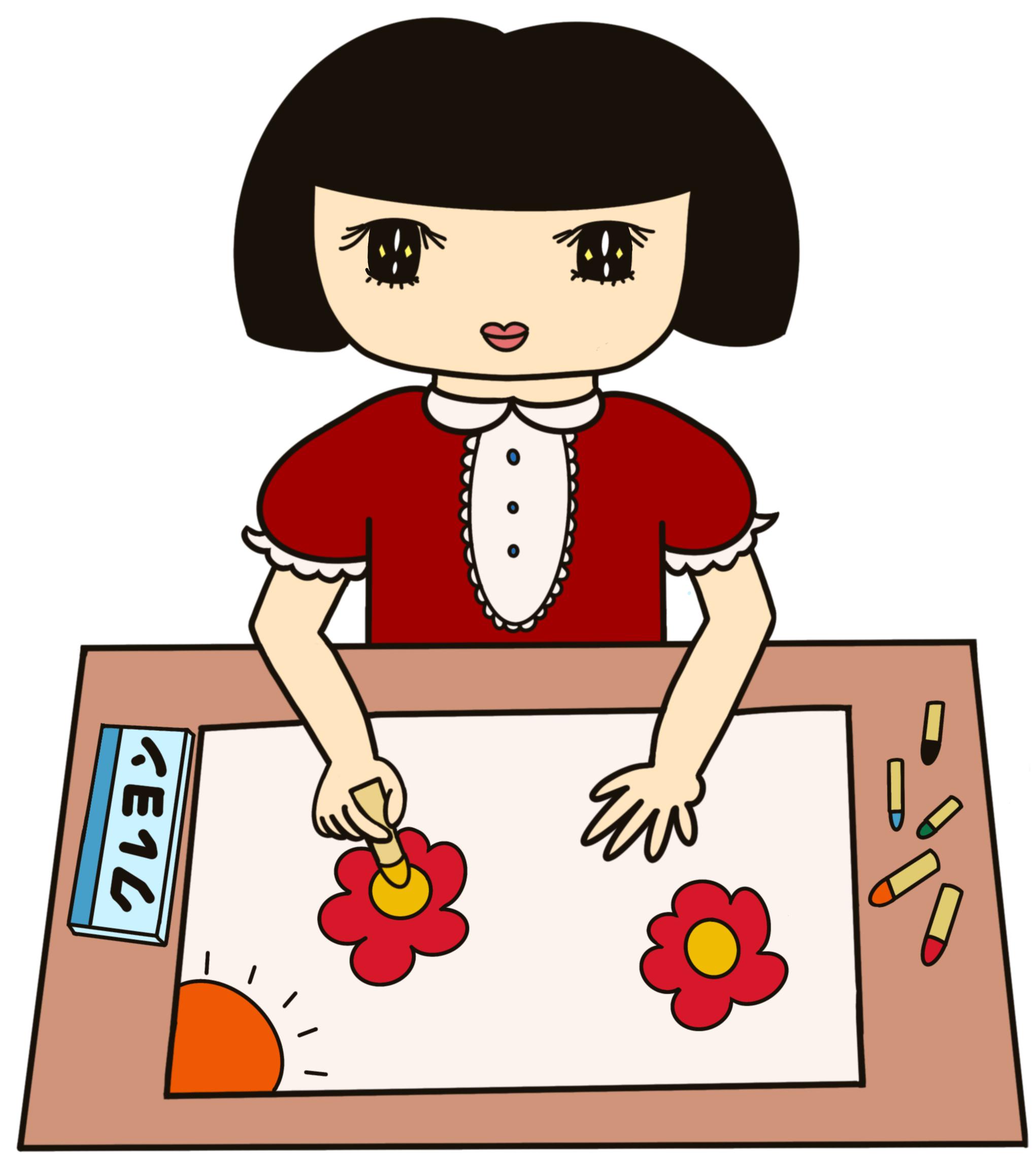 無料ぬりえプリント「絵を描く女の子」(完成一例)