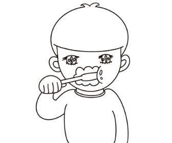 無料ぬりえプリント「歯を磨く男の子」