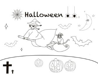 無料ぬりえプリント「ハロウィン(魔女・猫・パンプキン・こうもり・月)」