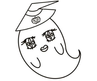 ハロウィンのぬりえプリント(おばけ)