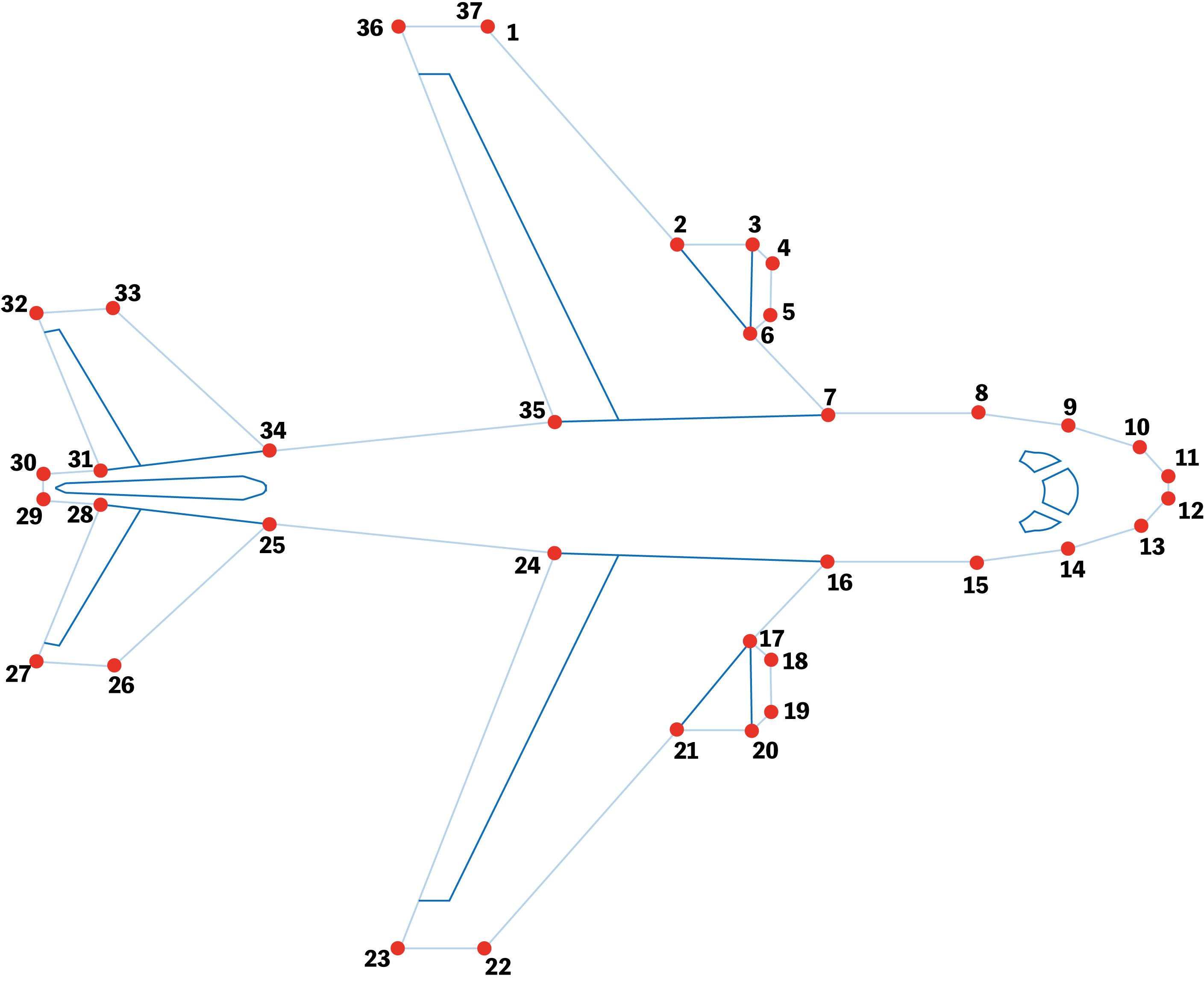 点つなぎ 飛行機(完成一例)